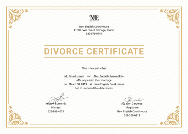 divorce certificate translation